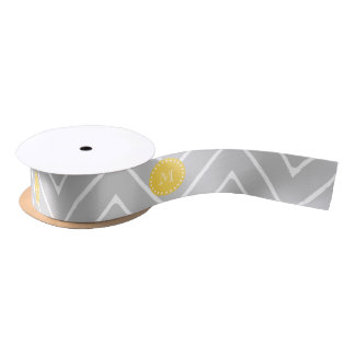 Gray & Yellow Modern Chevron Custom Monogram Satin Ribbon