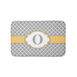 Gray Yellow Quatrefoil Monogram Bathmat Bath Mats