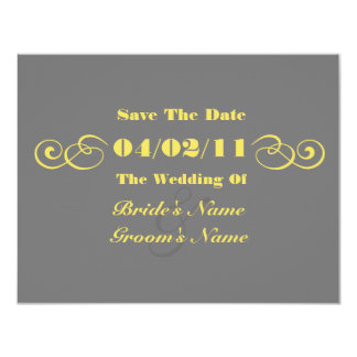 "Gray & Yellow Wedding Save The Date 4.25"" X 5.5"" Invitation Card"