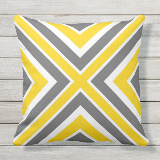 Gray Yellow White Geometric Throw Pillow