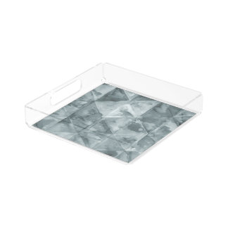 Gray zig-zag triangle watercolor pattern serving tray