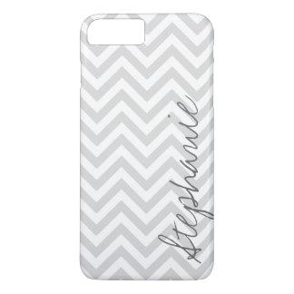 Gray Zigzag Chevron Pattern with Name iPhone 8 Plus/7 Plus Case