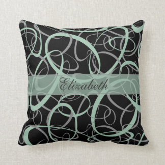 grayed jade and gray on black retro girly pattern throw pillow