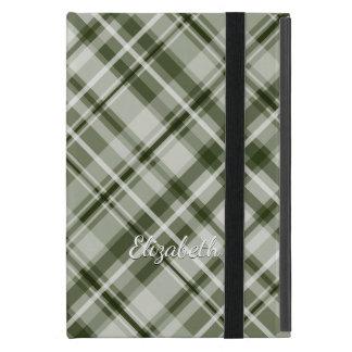 grayed jade green and white tartan plaid pattern cover for iPad mini