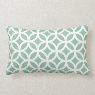 Grayed Jade Green Geometric Lumbar Pillow