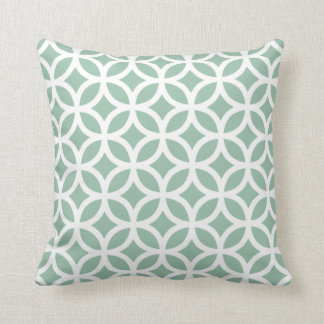 Grayed Jade Green Geometric Pillow