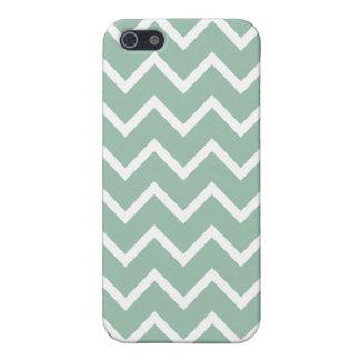 Grayed Jade Green Zig Zag Chevron iPhone 5/5S Cases