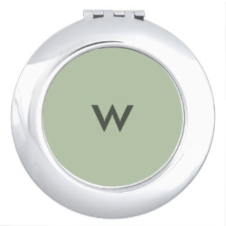 Grayed Jade Monogrammed Compact Mirror