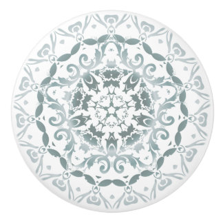 Grayish Green Damask Mandala Ceramic Knob