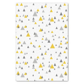 Grays & Yellow Random Triangles Modern Pattern Tissue Paper