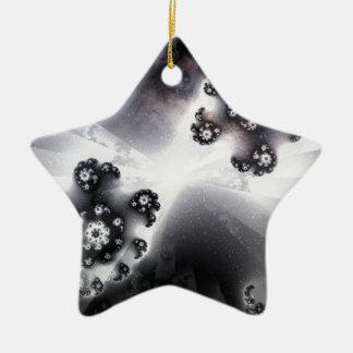 Grayscale Galaxy Ceramic Ornament