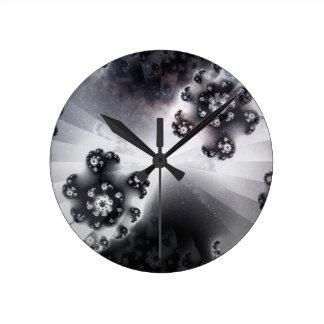 Grayscale Galaxy Round Clock