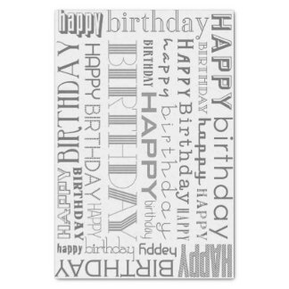 Grayscale Happy Birthday Typography Tissue Paper