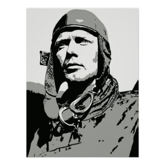 """Grayscale vector art: Charles Lindbergh (18""""x 24"""") Poster"""