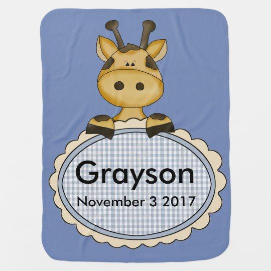 Grayson's Personalized Giraffe Stroller Blanket