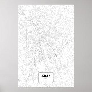 Graz, Austria (black on white) Poster