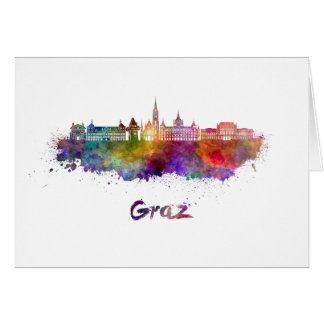 Graz skyline in watercolor card