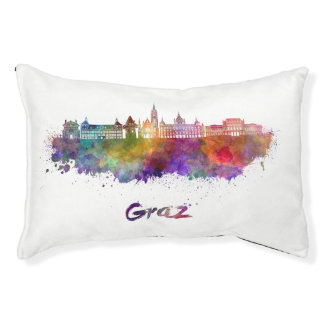Graz skyline in watercolor pet bed