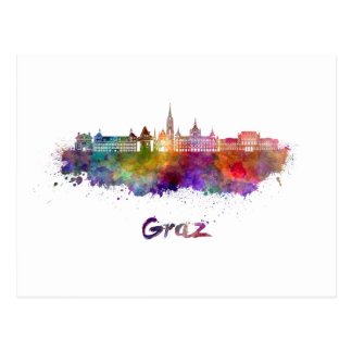 Graz skyline in watercolor postcard