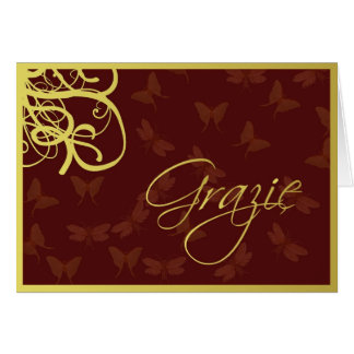 Grazie chocolate brown and gold card