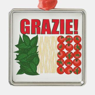 Grazie Silver-Colored Square Ornament