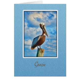 Grazie, Thank You, Italian, Pelican Card