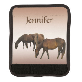 Grazing Brown Horses Luggage Handle Wrap