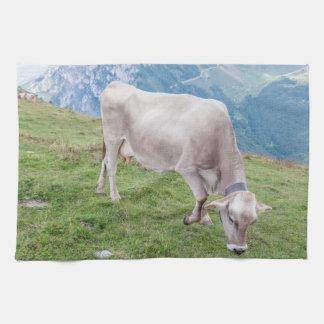 Grazing cow kitchen towel