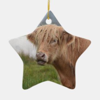 Grazing Highland Cow Ceramic Ornament