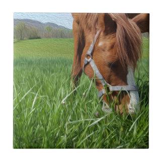 Grazing Horse Fine Art Print Ceramic Tile