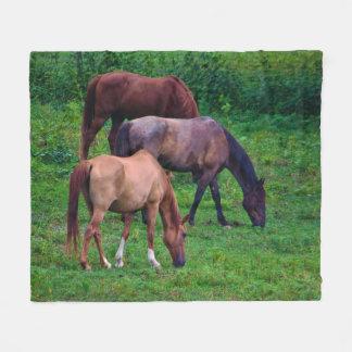 Grazing Horses Fleece Blanket