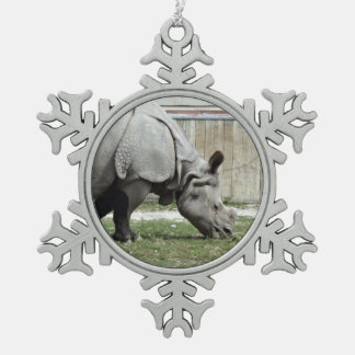 Grazing Indian Rhino Pewter Snowflake Ornament