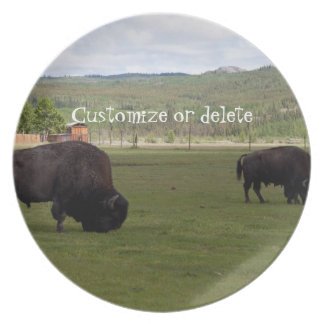 Grazing Wood Bison; Customizable Dinner Plate