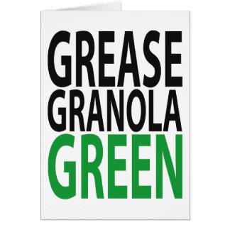 grease, granola, GREEN! Greeting Card