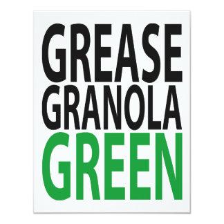 """grease, granola, GREEN! 4.25"""" X 5.5"""" Invitation Card"""