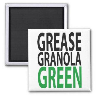 grease, granola, GREEN! Square Magnet