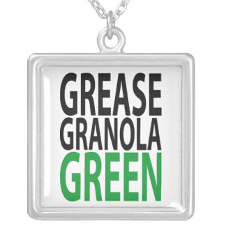 grease, granola, GREEN! Square Pendant Necklace