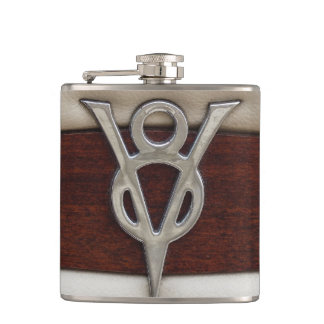 Grease Monkey V8 Engine Emblem Hip Flask