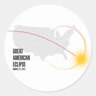 Great American Solar Eclipse 2017 Round Sticker