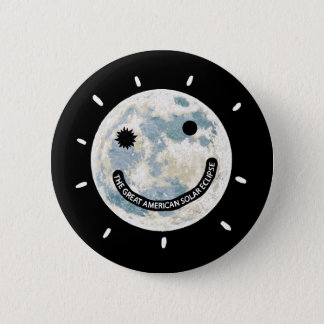 Great American Solar Eclipse Moon Emoji 2 Inch Round Button