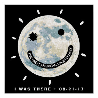 Great American Solar Eclipse Moon Emoji Poster