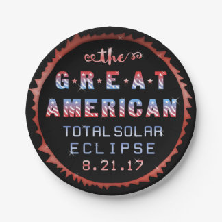 Great American Total Solar Eclipse August 21 2017 Paper Plate