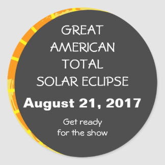 Great American Total Solar Eclipse customizable Classic Round Sticker