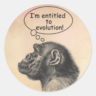 Great Ape Evolution Entitlement Classic Round Sticker