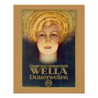 Great Art Deco Wella German Ad Poster