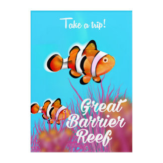 Great Barrier reef Clown fish cartoon poster Acrylic Wall Art