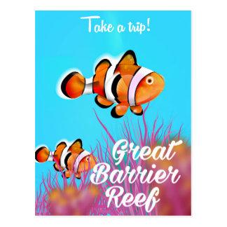 Great Barrier reef Clown fish cartoon poster Postcard