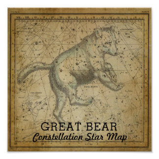 Great Bear Ursa Major Constellation Star Map Poster