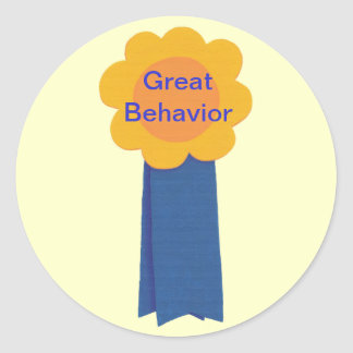 Great Behavior Yellow Flower Blue Ribbon Stickers