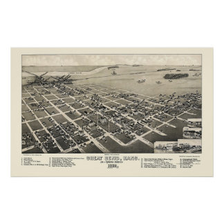 Great Bend, KS Panoramic Map - 1882 Poster